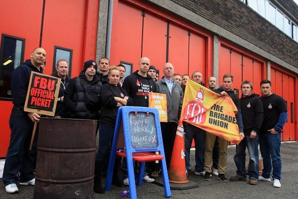 Firefighters picket outside Wycombe station in May