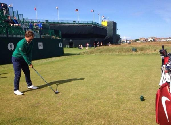 Tyrrell Hatton on the first tee during practice at Hoylake