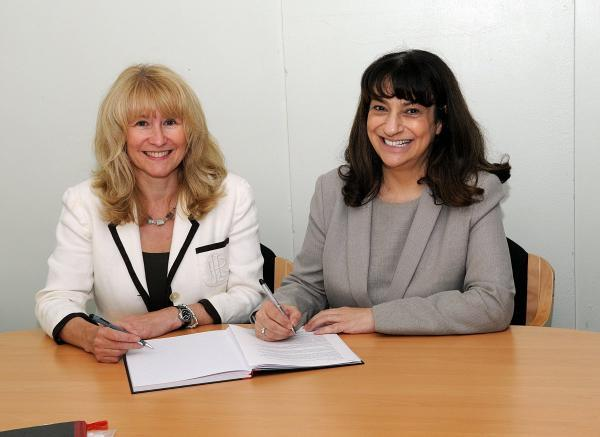 (From left) Wycombe High Headteacher Sharon Cromie and Wye Valley Headteacher Andrea Jacobson