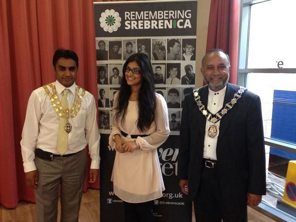 l-r High Wycombe mayor Khalil Ahmed, event organiser Cllr Rabia Bhatti and Chesham mayor Mohammad Fayyaz