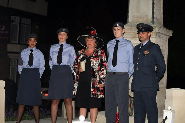 Recruits alongside Marlow mayor Suzanne Brown at the recent WWI commemorations