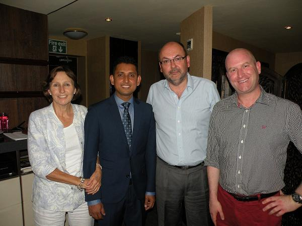 Penny Hill (chairman of UKIP South Bucks), Hasan Choudhury manager of The Old Bengal, Tim Scott UKIP parliamentary candidate for Beaconsfield and Paul Nuttall MEP and Deputy Leader of UKIP