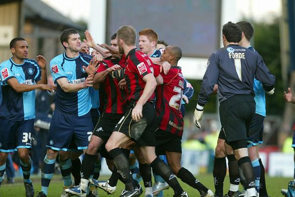 Tempers flared when Wanderers met Millwall in a League One game in 2010