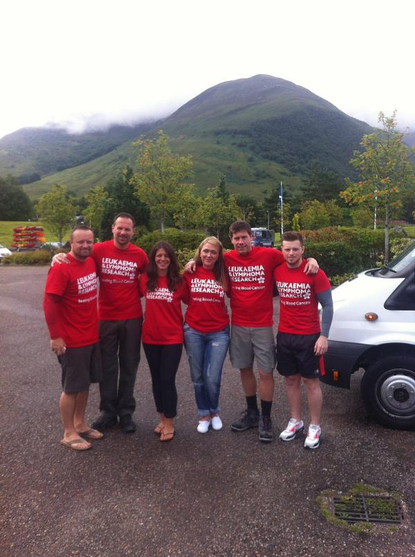 The team at the end of their Three Peaks Challenge