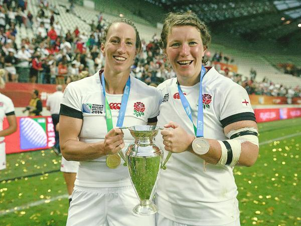 Kat Merchant and Rochelle Clark with the World Cup