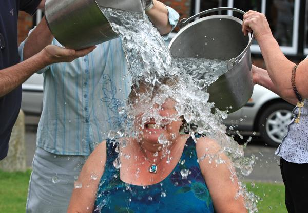Marlow mayor Suzanne Brown took up the Ice Bucket Challenge on Saturday