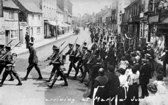 Supplied by the Marlow Remembers WWI group, this picture shows troops marching along West Street towards camp