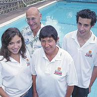 Taking the plunge: Christina and Mike Fonfe with Alix and James - Picture by ANITA ROSS-MARSHALL 05-2592 P2