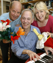 Brian Cant, Jonathan Cohen and Cherrie Britton rehearsing the show at their Chalfont home - Picture by SACHA LILLA 05 3087 P04