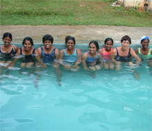 Conquer your fears': Christina Fonfe and a group of Sri Lankan teachers who have become her swimming students