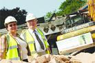 You're in rubble: Cllr Lesley Clarke and Cllr David Cox at the Eden building site