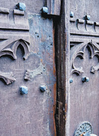 Damaged: The doors of St Mary's Church