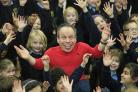 Warwick Davis at Hughenden Primary School this morning. Picture by ARM Images.