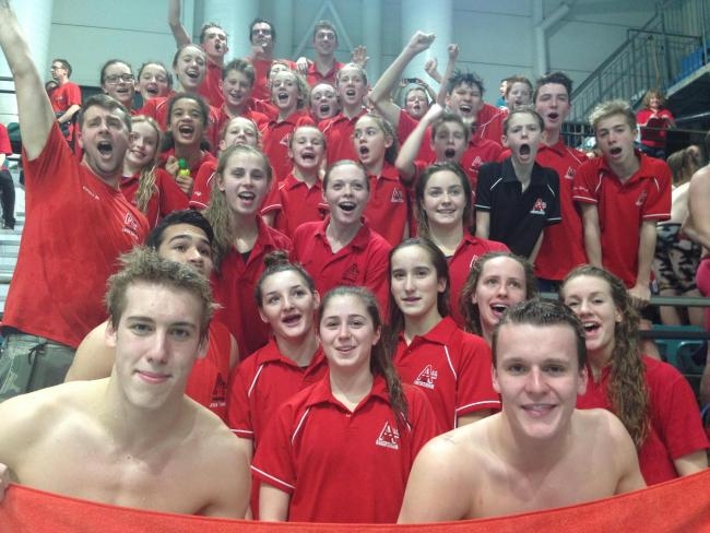 ASC swimmers celebrate being promoted to the Premier Division