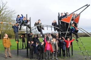 Excited youngsters test out new village playground