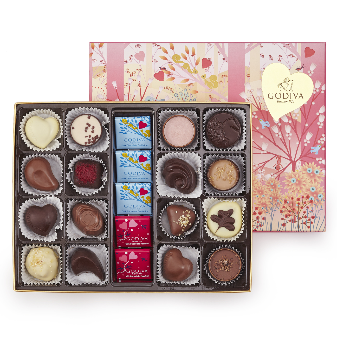 Godiva, Mother's Day gift box with 21 chocolates and lid design featuring original artwork by French artist Charlotte Gastaut, £30, godivachocolates.co.uk
