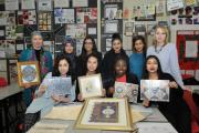 GCSE and sixth form students from Highcrest with MKIAC artist Maryam Smit (left) and acting head of art at Highcrest Amie Barnard (right).