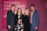 (from left) Sean Mackney, Dr Sharon Edwards and Sam McCormack from Buckinghamshire New University and awards host, Paul Sinha
