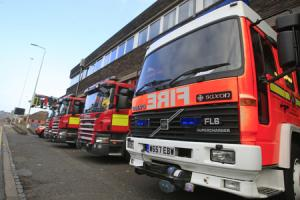 Firefighters tackle two-storey garage blaze