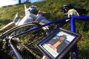 Tributes left at spot young cyclist lost his life following crash