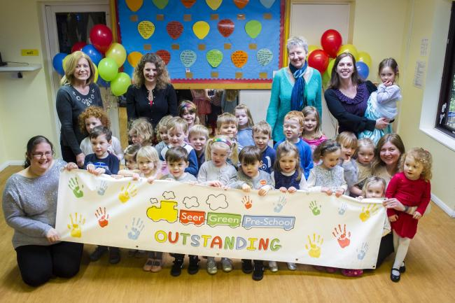 Staff and pupils at Seer Green Pre-school are celebrating an 'outstanding' Ofsted rating. Picture by Simon Wagner