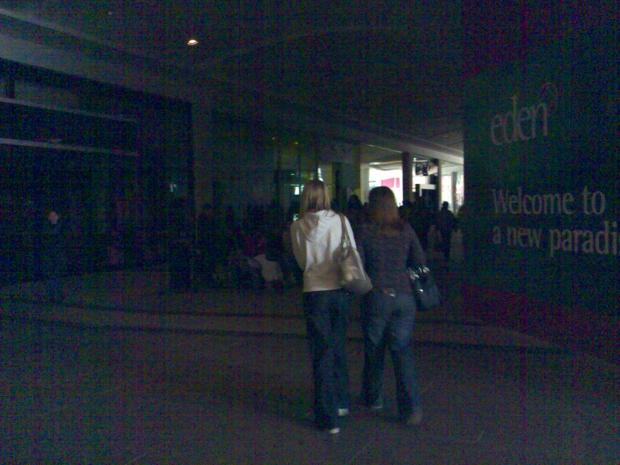 Shopping in the dark during the power cut at Eden