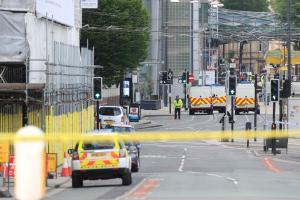 Caption: Police close to the Manchester Arena this morning. Picture by Peter Byrne/ PA Wire