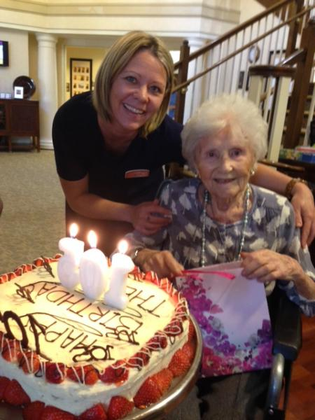 Thelma Rose, right, celebrated her 105th birthday last month
