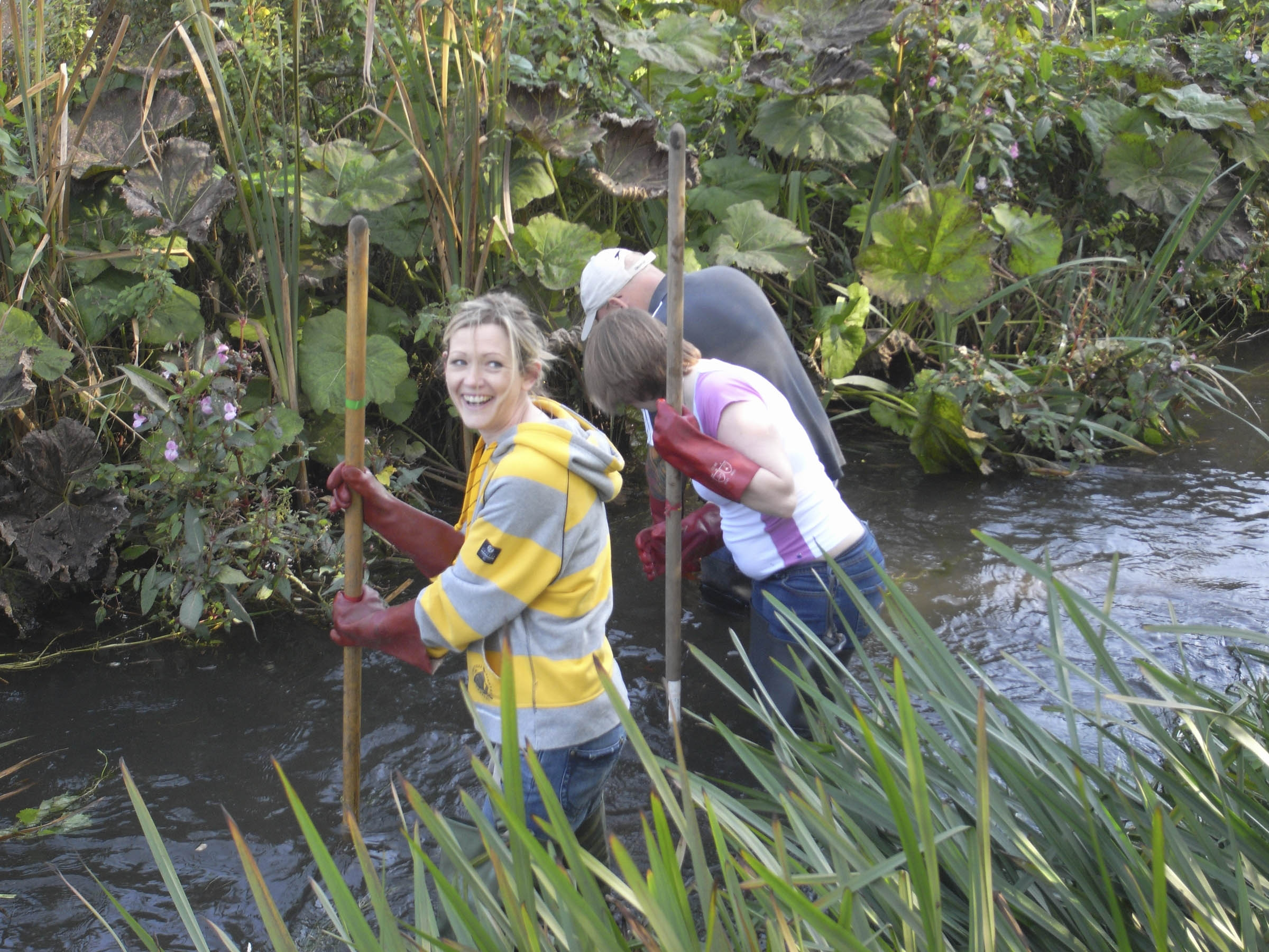 Volunteers clean the river Wye as part of the 'revive the Wye project'.