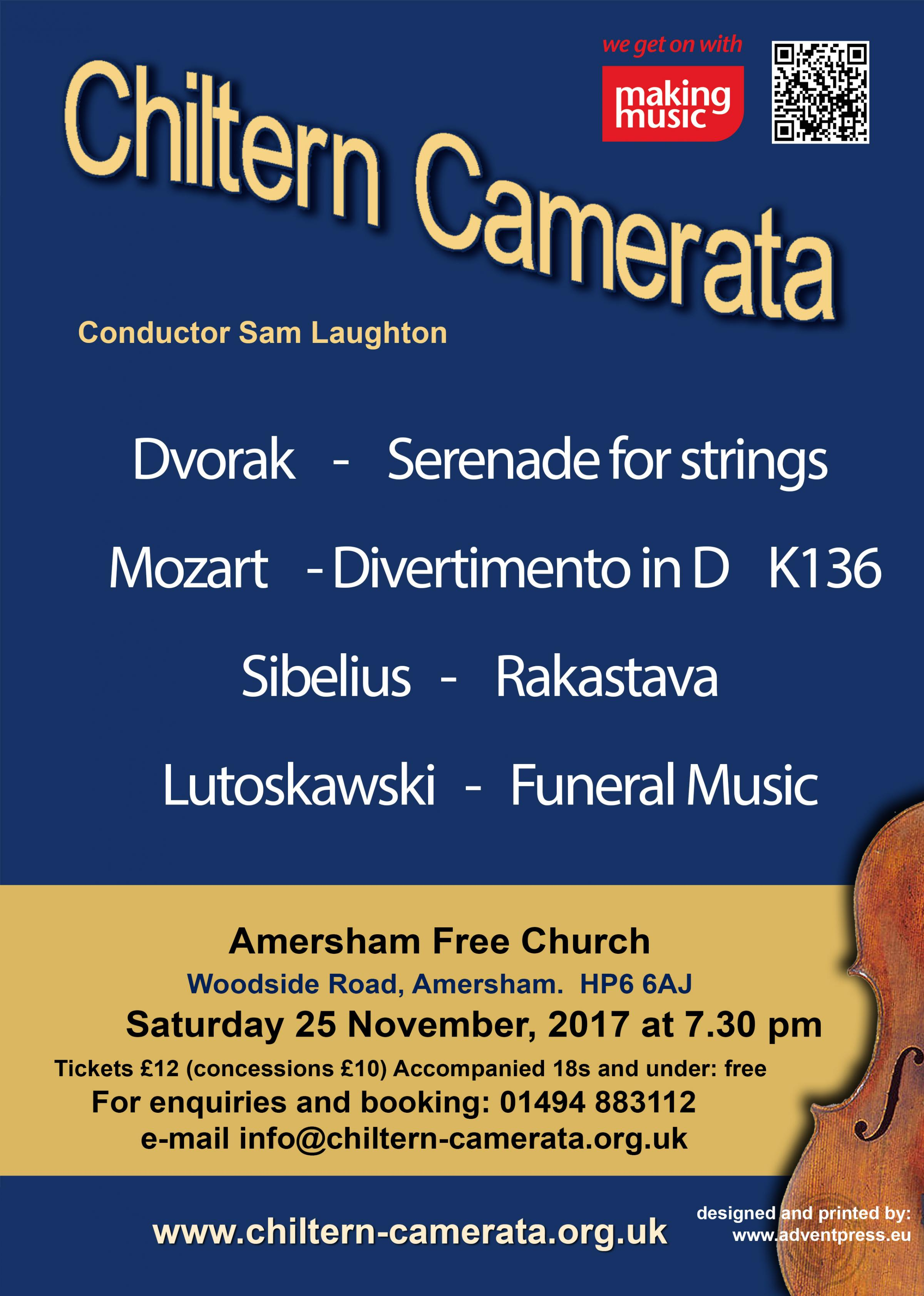 THE CHILTERN CAMERATA'S NEW SEASON OF CONCERTS!