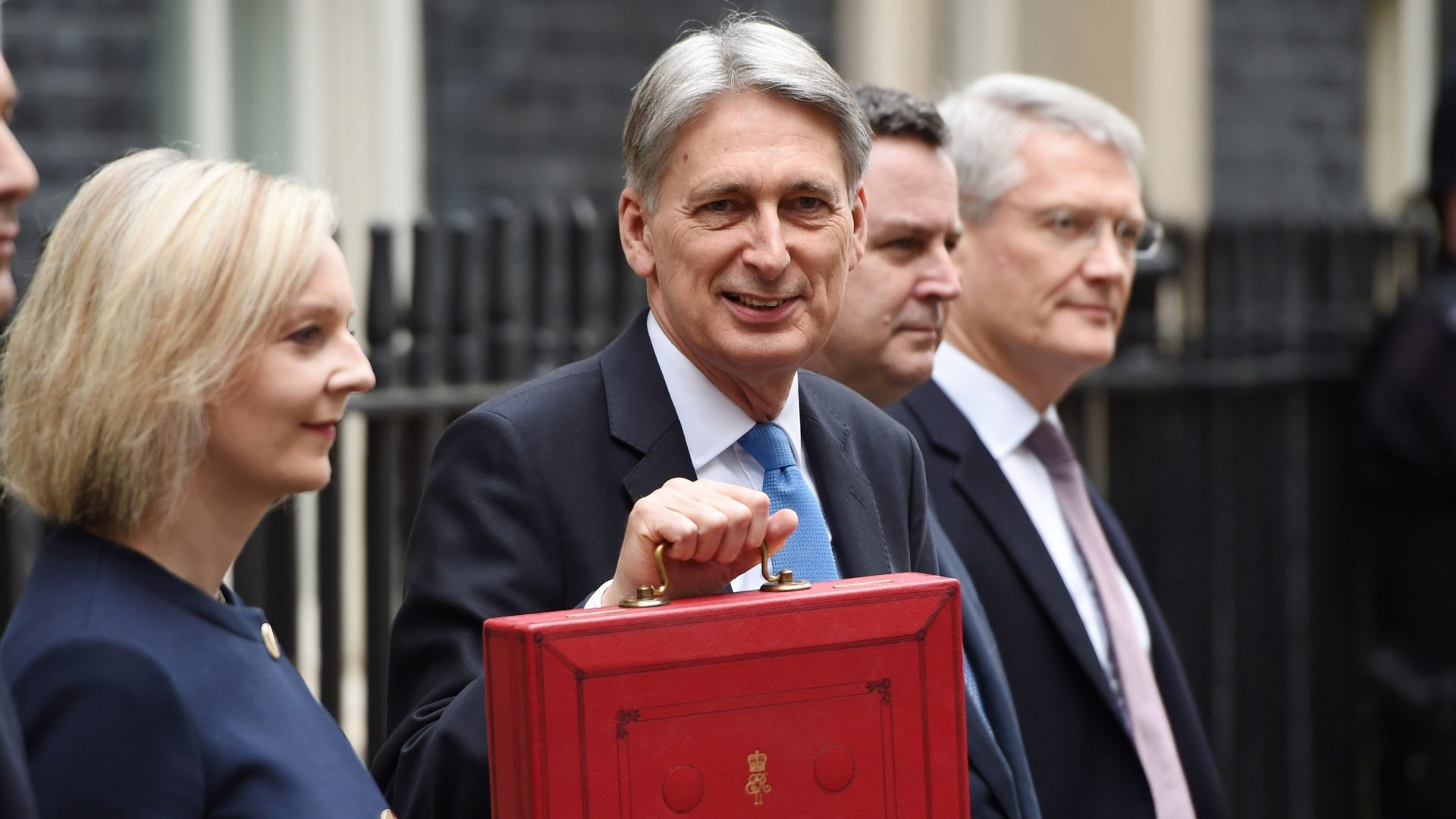 Philip Hammond and the Treasury team in Downing Street