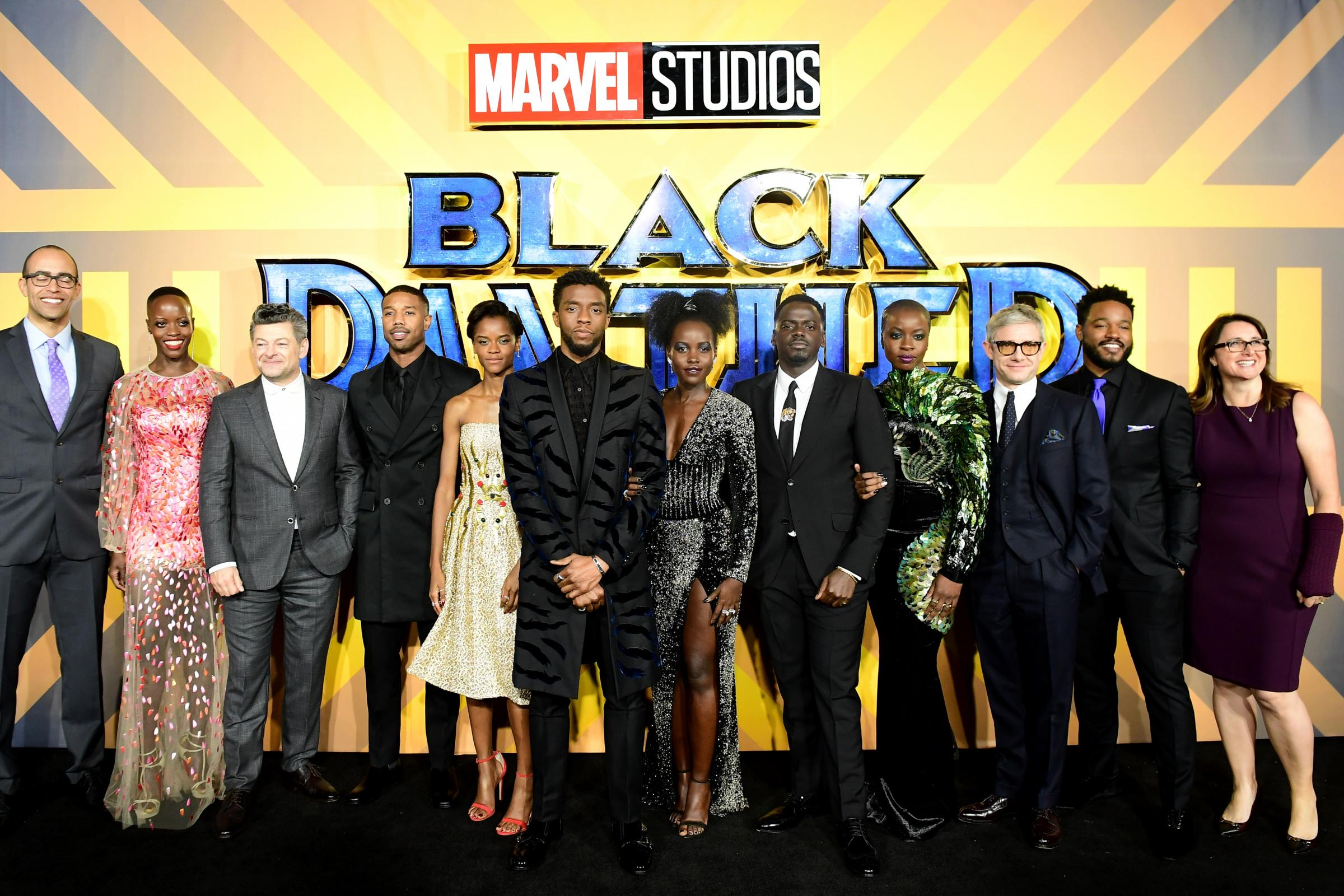 The cast and crew of Black Panther at The Eventim Apollo (Ian West/PA)
