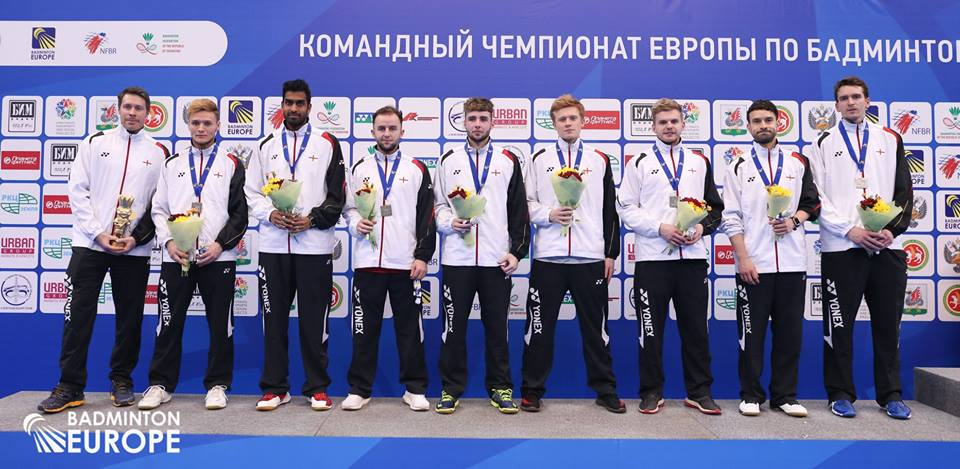Jones (fourth from the right) won silver at the Euros