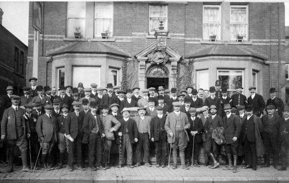 Although it acquired an infamous reputation in the 60s the Nags Head was a venue for dignitaries of the town. Here a crowd including the Mayor Mr H J Cox are assembled outside the pub during a Beating the Bounds ceremony - Nov 1911