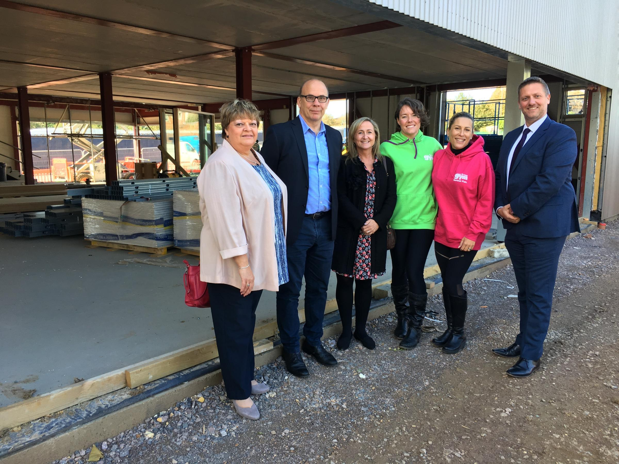 Council leader Katrina Wood, Tim Hodgson and Olivia Foley from Hungry Caterpillar Day Nurseries, Matina Macintyre and Andi Page from The Little Gym and Cllr Steve Broadbent