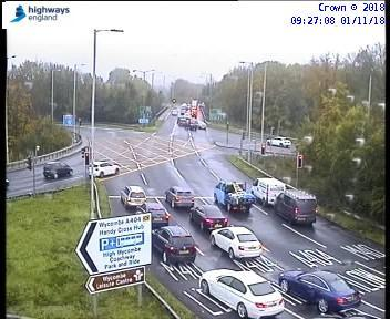 Handy Cross roundabout was packed this morning. Picture by Highways England