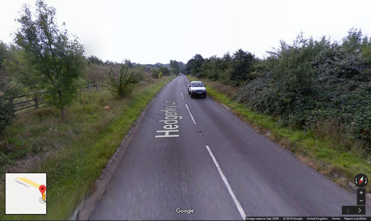 The crash happened on Hedgerley Lane. Picture by Google