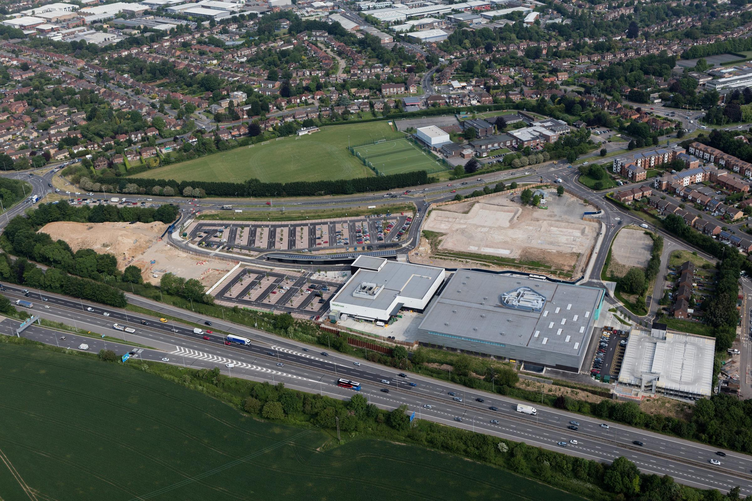 An aerial shot of the Handy Cross Hub site. Picture by Wycombe District Council