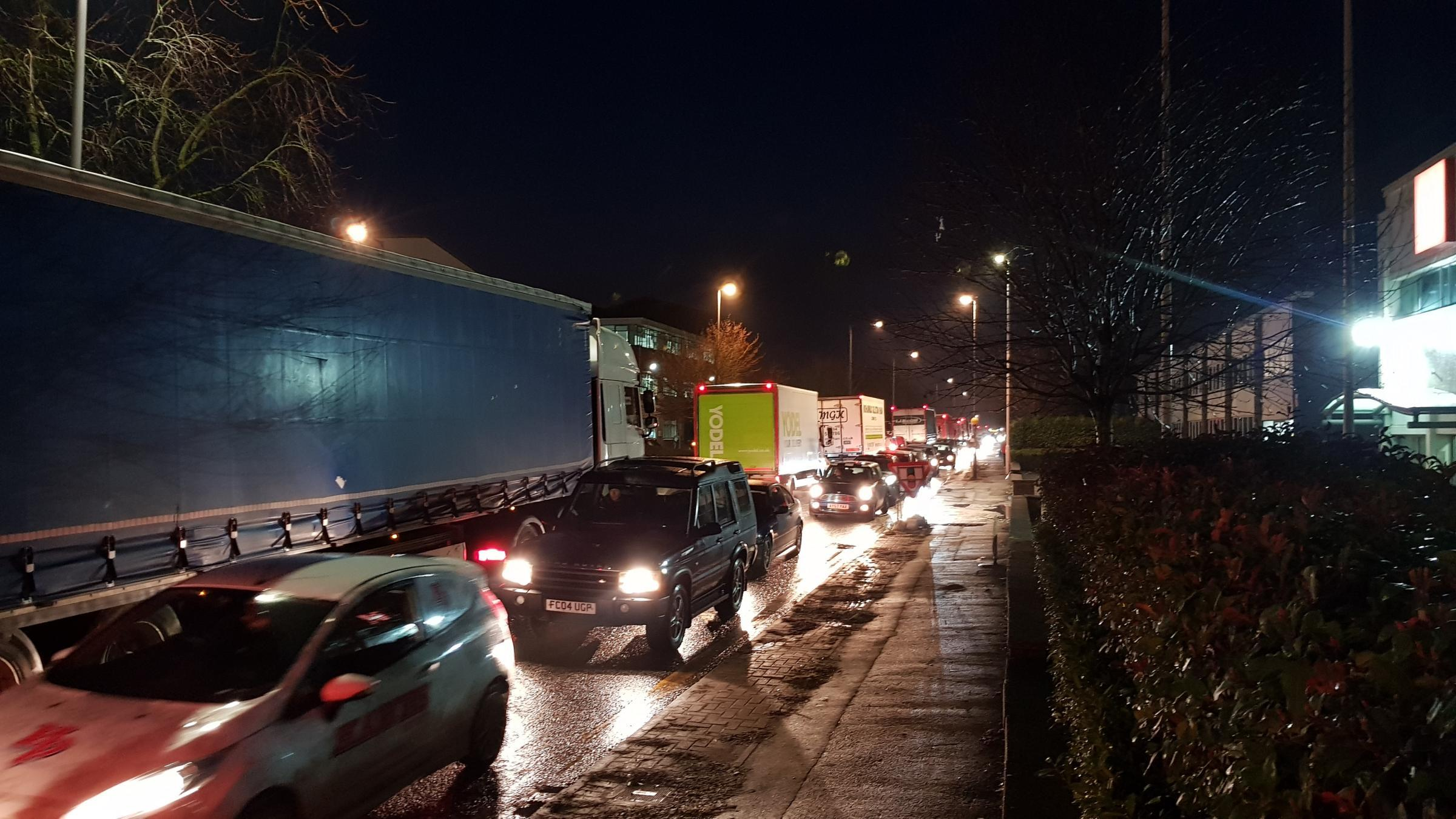 Drivers have faced gridlock trying to get out of the business park