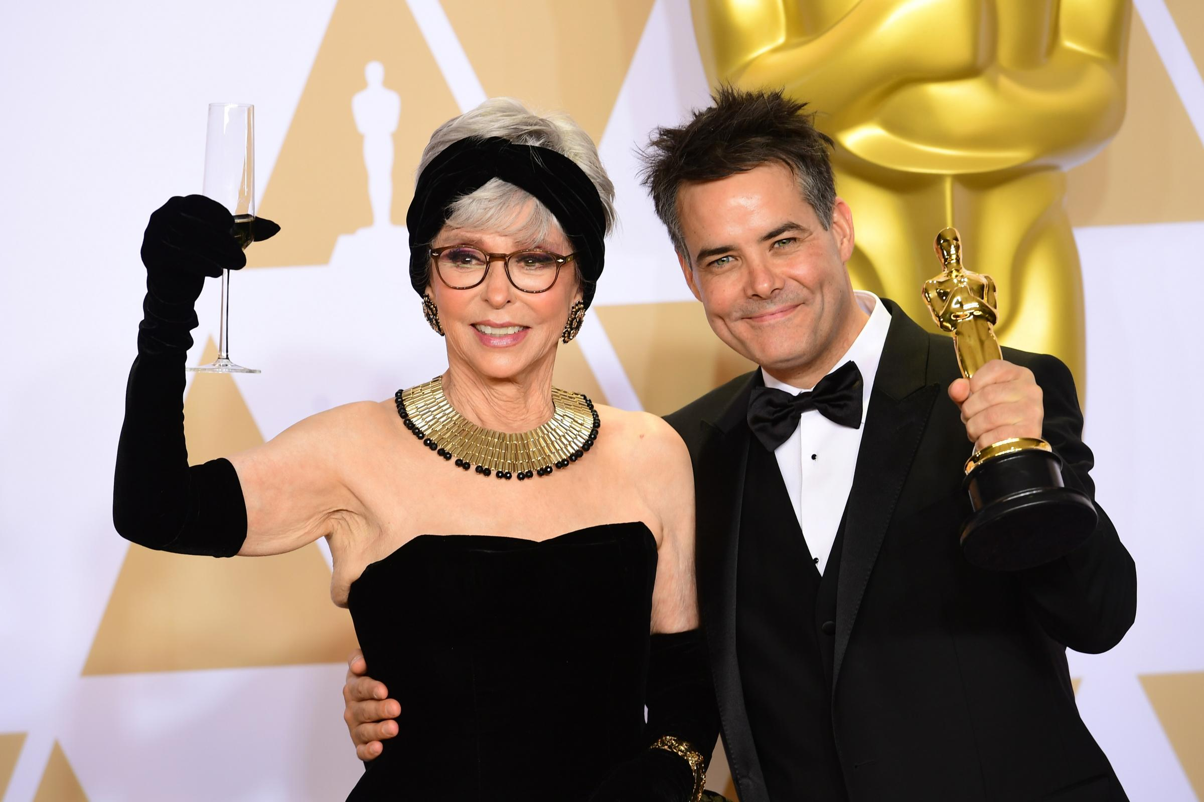 Rita Moreno, left, who appeared in the sitcom, pictured with Sebastian Lelio