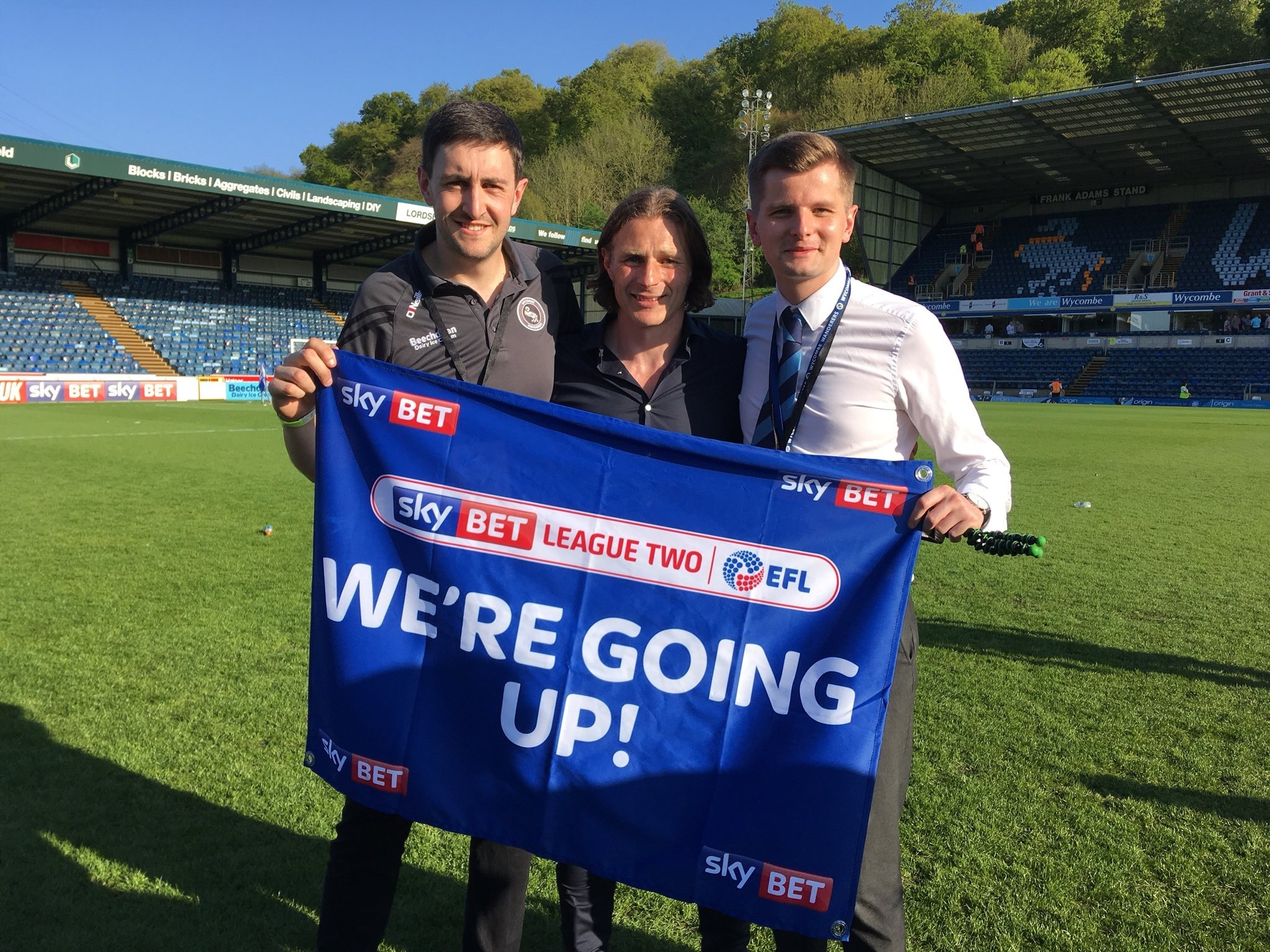 Tom Jarvis (right) with Matt Cecil and Wycombe boss Gareth Ainsworth