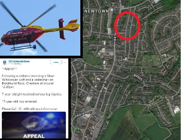 Air ambulance lands in Chesham amid 'hit-and-run' reports - teenager arrested