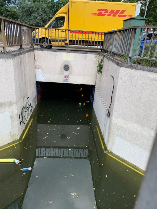 The underpass is flooded